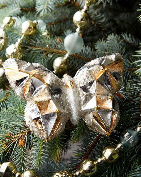 Faceted Silvery Glass Butterfly Christmas Ornament