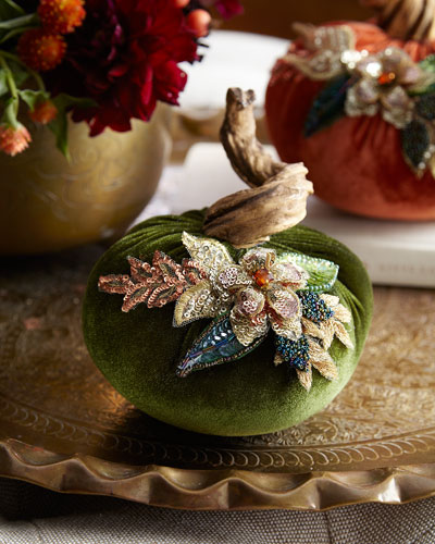 Spice Trader Velvet Pumpkin Decor - Green (5