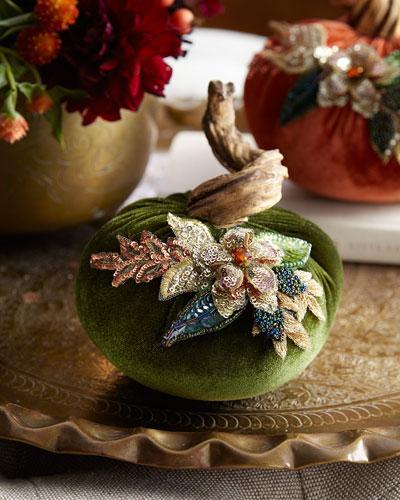 Spice Trader Velvet Pumpkin Decor - Green (5)