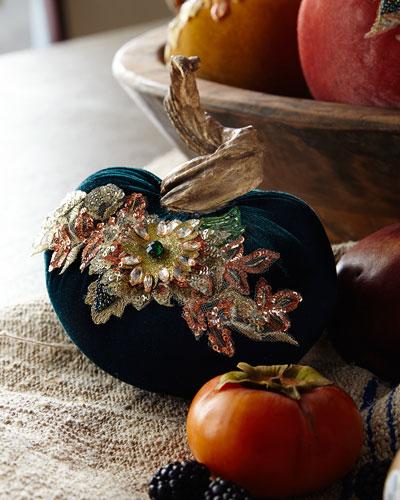 Spice Trader Velvet Pumpkin Decor - Blue (5