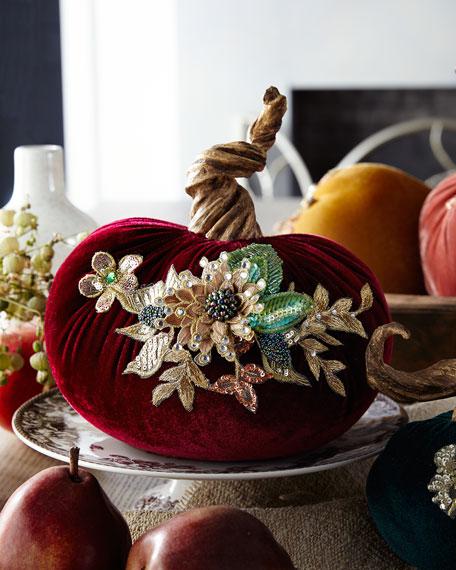 """Spice Trader Velvet Pumpkin Decor - Burgundy (8"""")"""
