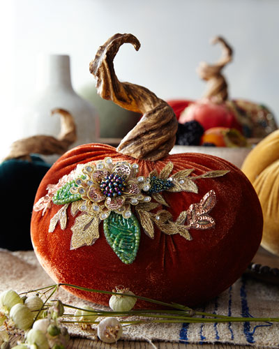 Spice Trader Velvet Pumpkin Decor - Red-Orange (6.5