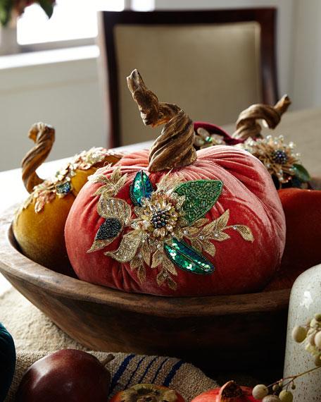 "Spice Trader Velvet Pumpkin Decor - Orange (8"")"