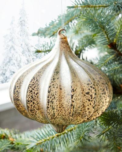 Kismet Ribbed Silver  Christmas Ornament