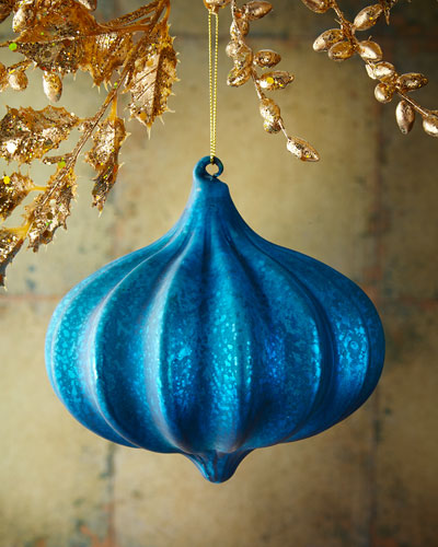 Kismet Ribbed Blue  Christmas Ornament