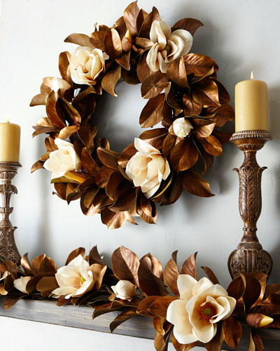 Hand-Painted Magnolia Garland  5'