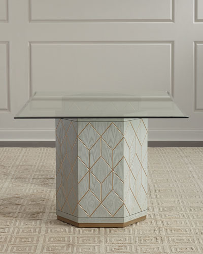Aurora Double Pedestal Glass-Top Dining Table
