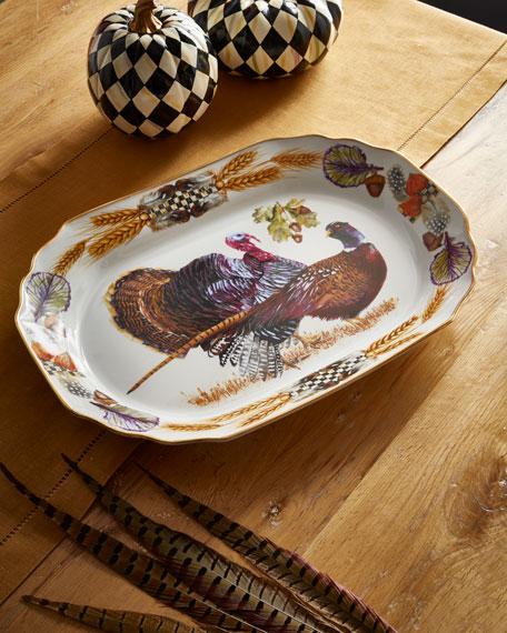 MacKenzie-Childs Pheasant Run Large Turkey Platter