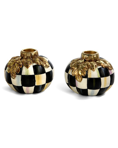 Courtly Check Pumpkin Candlestick Holders, Set of 2