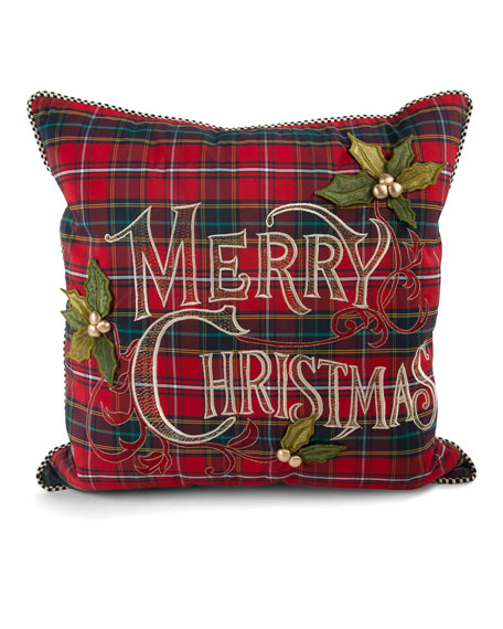 mackenzie childs tartan merry christmas pillow
