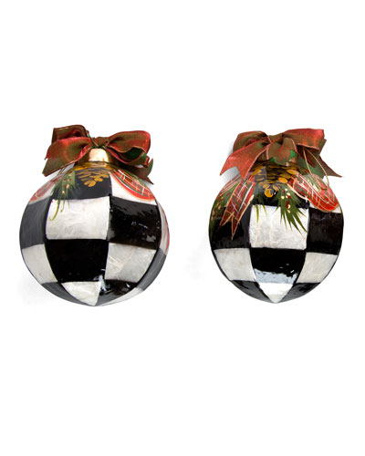 Courtly Check Evergreen Ball Christmas Ornaments