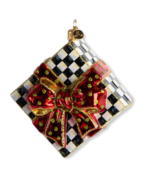 Courtly Check Present Glass Christmas Ornament