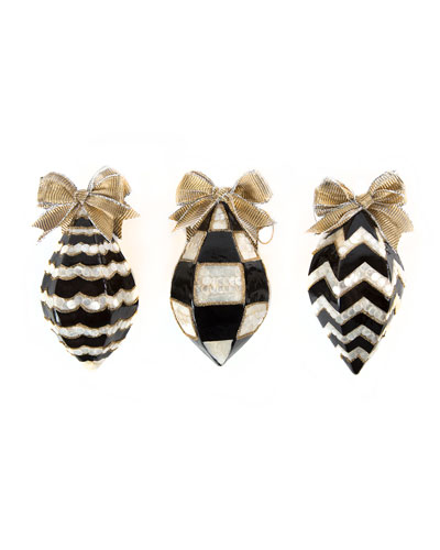 Black & White Teardrop Christmas Ornaments, Set of 3