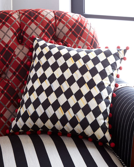 Courtly Harlequin Pompom Pillow - Red