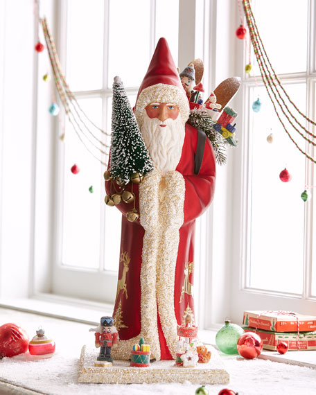 Large Santa Statue in Shiny Red Coat