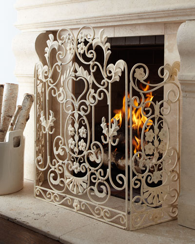Antiqued-White Fireplace Screen
