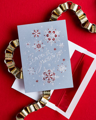 Season's Greetings Snowflakes Cards, Personalized