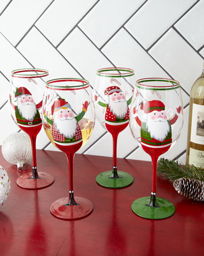 Hand-Painted Santa Wine Glasses  Set of 4