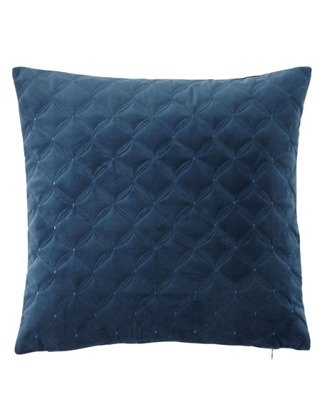 "Leisure Embroidered Velvet Pillow, 20""Sq."