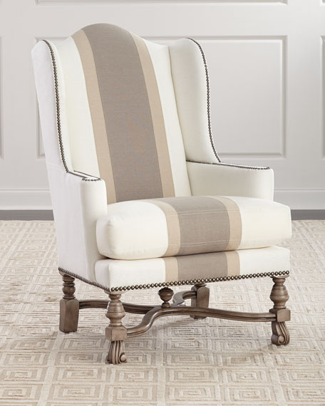 Natural Colorblock Wing Chair