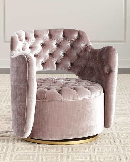 Haute House Tatiana Tufted Velvet Swivel Chair