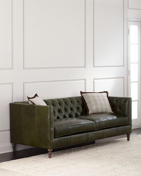 "Mackenzie Tufted Leather Sofa 84"""