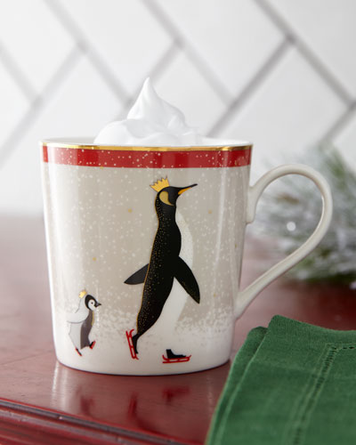 Sara Miller Red Penguin Holiday Mugs  Set of 4