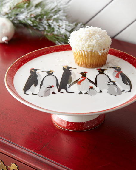 Sara Miller Red Penguins Holiday Footed Cake Plate