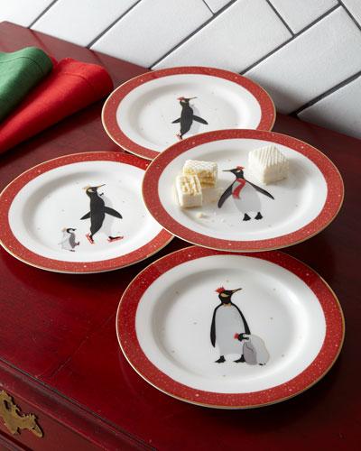 Sara Miller Red Penguins Holiday Assorted Desert Plates, Set of 4