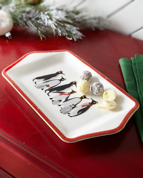 Sara Miller Red Penguins Holiday Desert Serving Tray