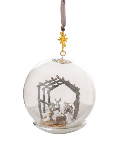 Manger Snow Globe Ornament