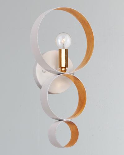 Luna 1-Light Matte White Gold Sphere Sconce