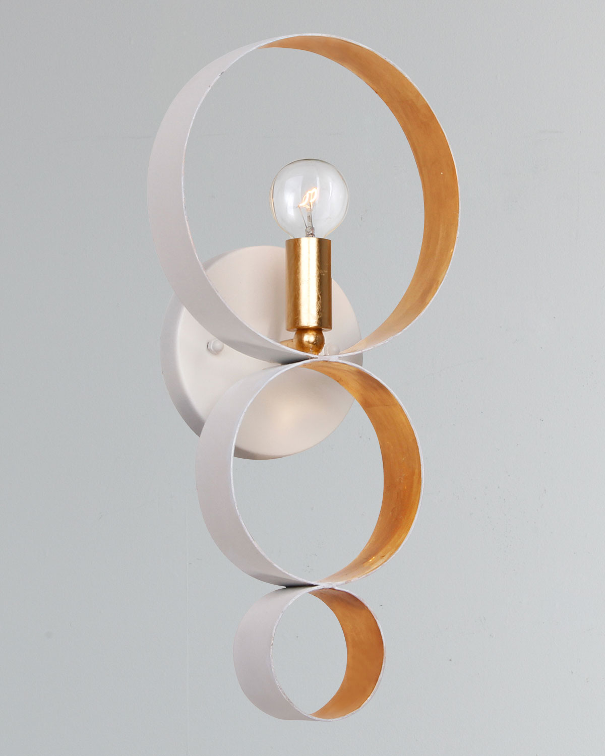 Crystoramaluna 1 Light Matte White Gold Sphere Sconce