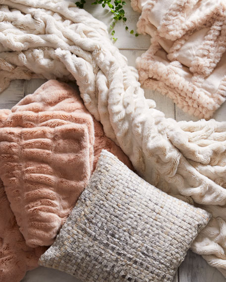 Couture Blush Faux-Mink Throw Blanket