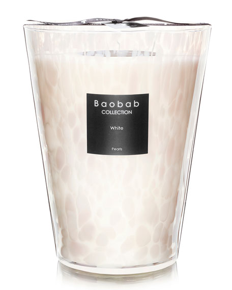 """White Pearls Candle, 9.4"""""""