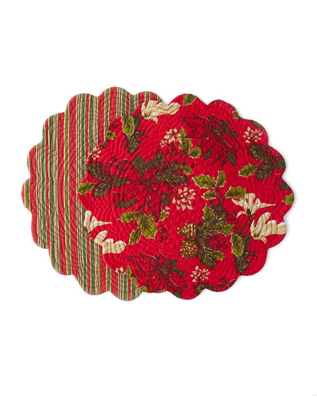 Poinsettia Pine Round Placemats, Set of 4