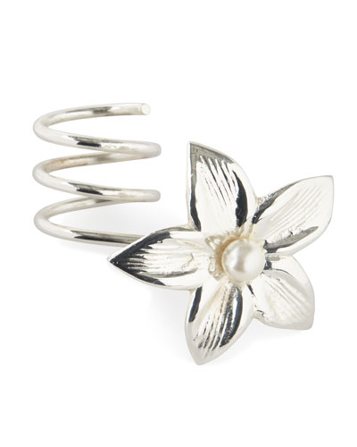Silver Flower Vine Wrapped Napkin Ring