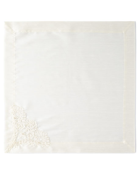 Hand-Beaded Pearls & Embroidery Silk Napkin