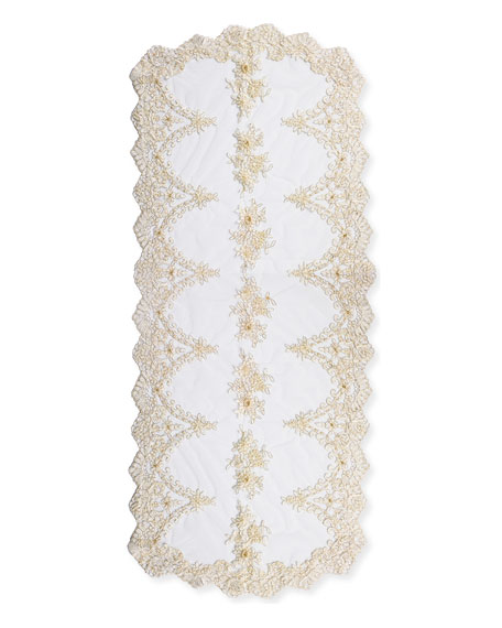 Lace and Pearl Embroidered Table Runner