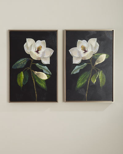 Magnolias Giclee Wall Art  Set of 2