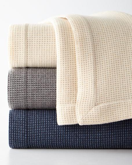Merino Wool Waffle Knit King Blanket
