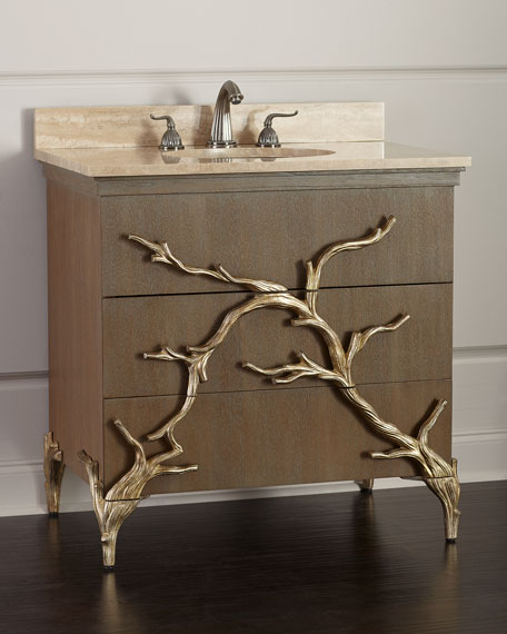 Ambella Branch Travertine Top Vanity With Porcelain Sink