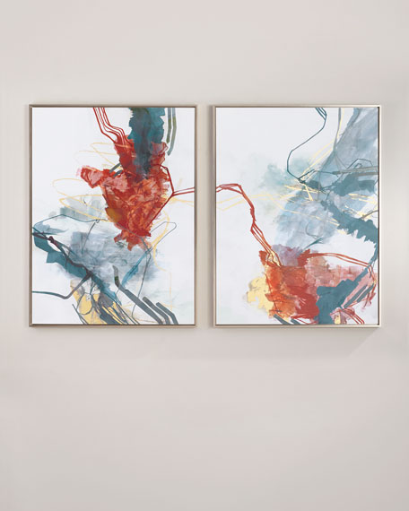 """Hearts and Spades"" Giclee Canvas Art, Set of 2"