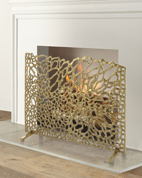 John-Richard Collection Gold Organic Fireplace Screen