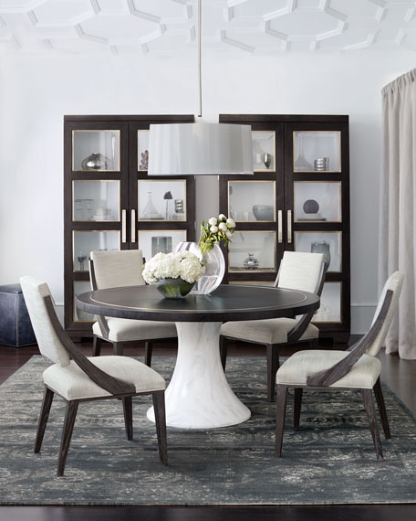 Bernhardt Decorage Round Hand-Painted Marble-Finish Dining Table