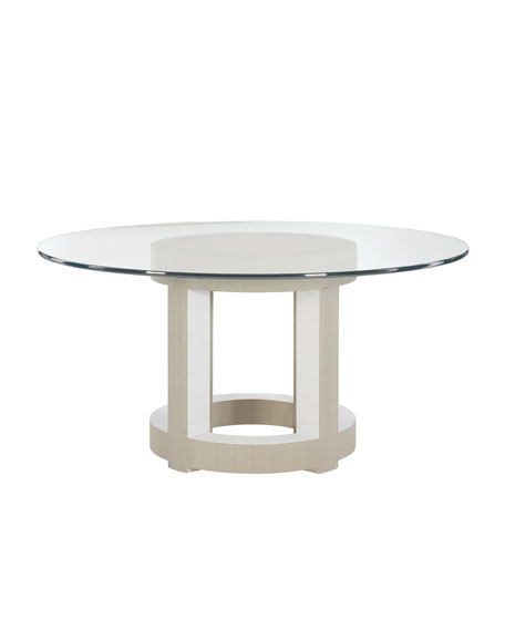 """Axiom Round Glass-Top Dining Table, 60"""""""