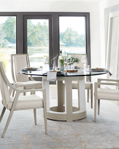 Bernhardt Axiom Round Glass-Top Dining Table, 60