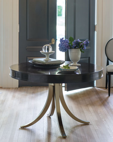 """Haven 48"""" Round Dining Table with Vintage Nickel Metal Base"""