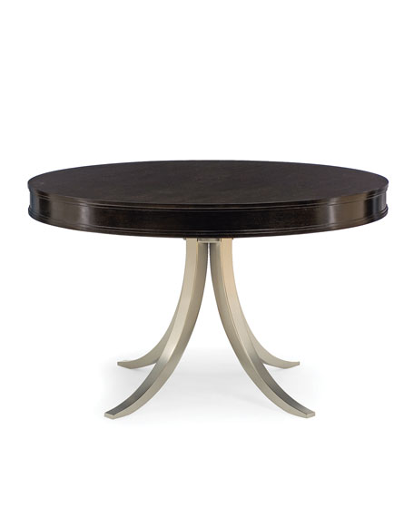 "Haven 48"" Round Dining Table with Vintage Nickel Metal Base"