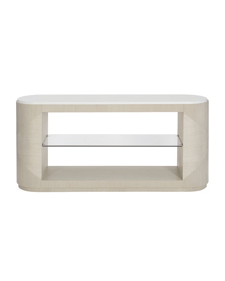 Axiom Oval Console Table with Glass Shelf